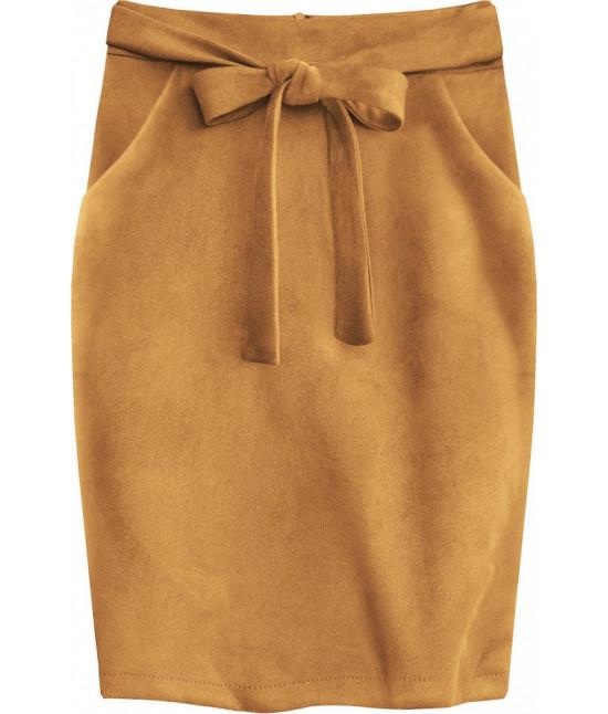 Dámska sukňa s vreckami MODA505 svetlohnedá