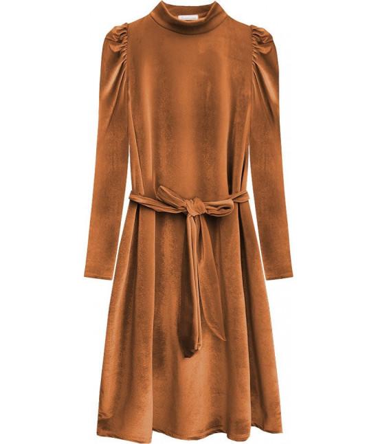 Dámske velúrové šaty MODA487 hnedé
