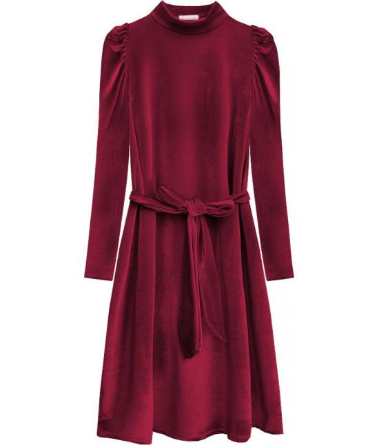 Dámske velúrové šaty MODA487 bordové