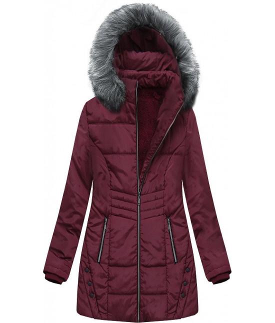 Dámska zimná bunda s kapucňou MODA625 bordová veľkosť 3XL