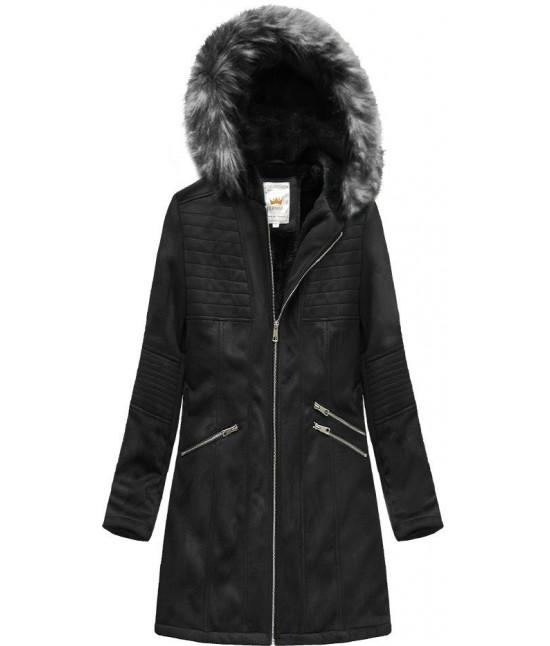 Dámska zamatová bunda s kapucňou MODA516BIG čierna veľkosť 3XL