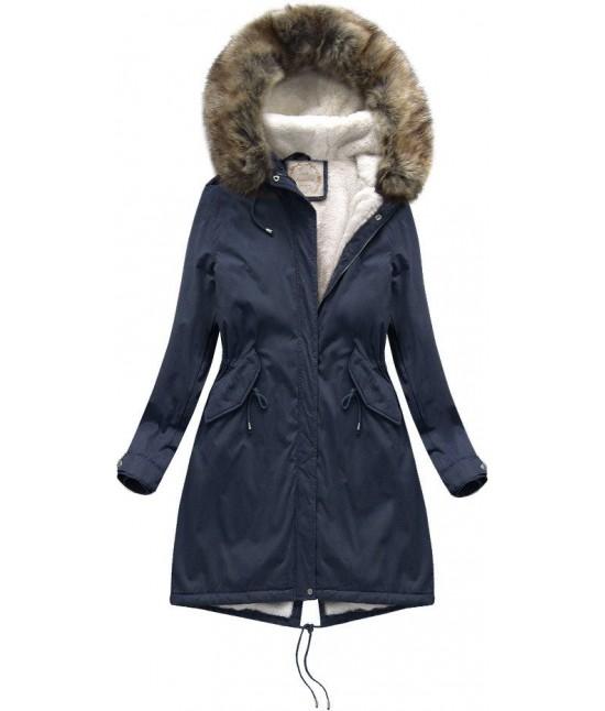 Dámska zimná bunda parka MODA992BIG modrá 10XL