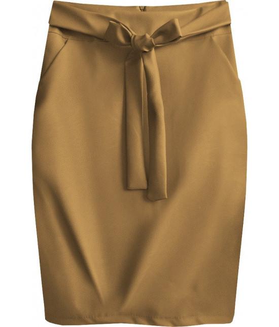 Dámska sukňa z eko-kože MODA528 svetlo-hnedá