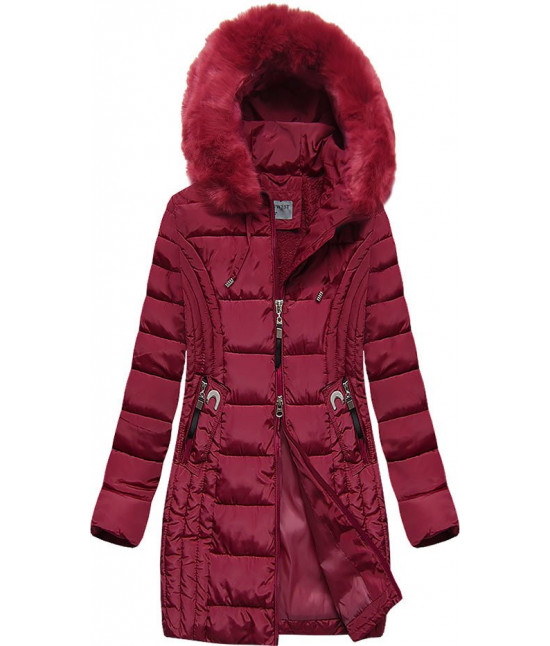 Prešívaná dámska zimná bunda MODA2620BIG bordová 5XL