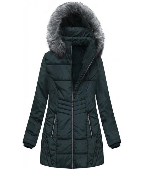 Dámska zimná bunda s kapucňou MODA625 tmavozelená veľkosť 5XL