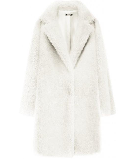 Dámsky kožušinový kabát MODA461 ecru veľkosť UNI