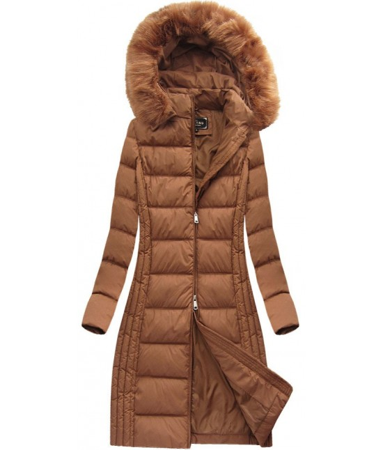 Dámska dlhá zimná bunda MODA753BIG karamelová 6XL