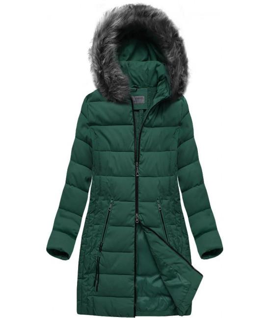 Dámska dlhá zimná bunda s kapucňou MODA502 zelená 7XL