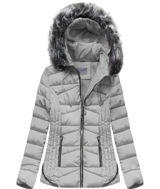 Prešívaná dámska zimná bunda s kapucňou MODA2631 šedá L