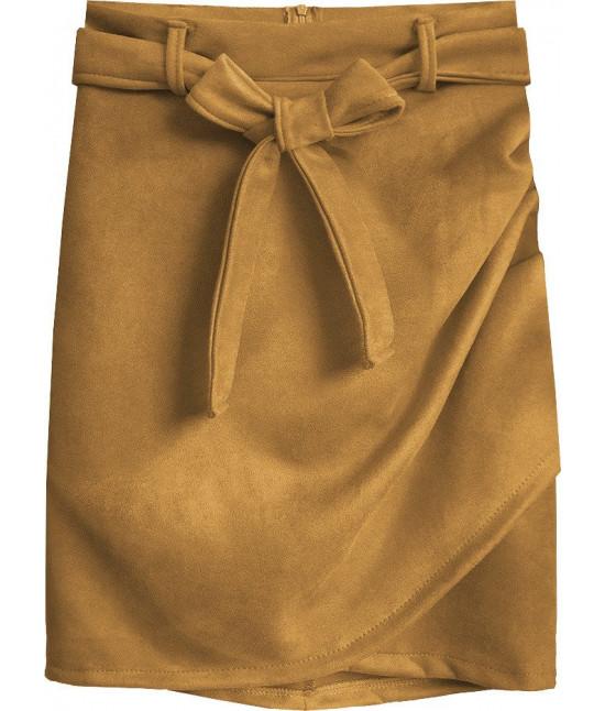 Dámska semišová sukňa MODA527 svetlohnedá