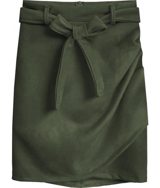 Dámska semišová sukňa MODA527 khaki