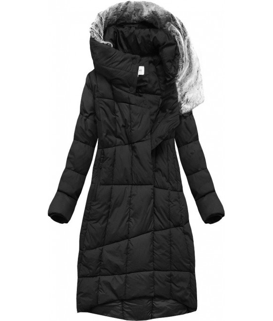 Dlhá dámska zimná bunda s kapucňou MODA009 čierna