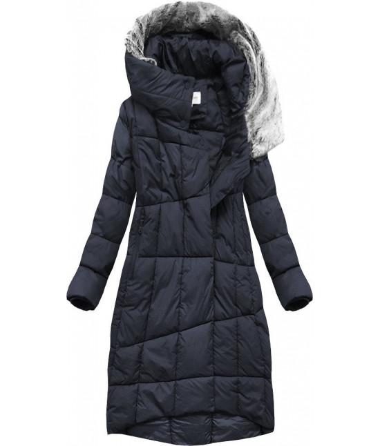 Dlhá dámska zimná bunda s kapucňou MODA009 tmavomodrá