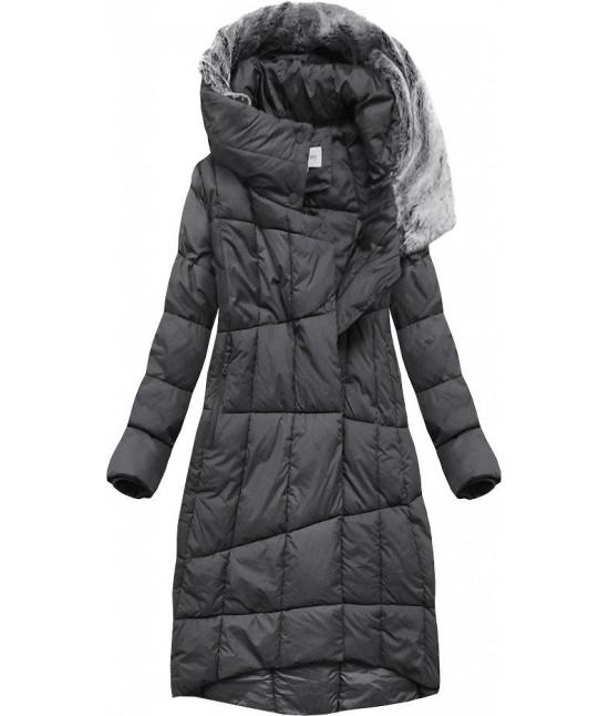 Dlhá dámska zimná bunda s kapucňou MODA009 tmavošedá