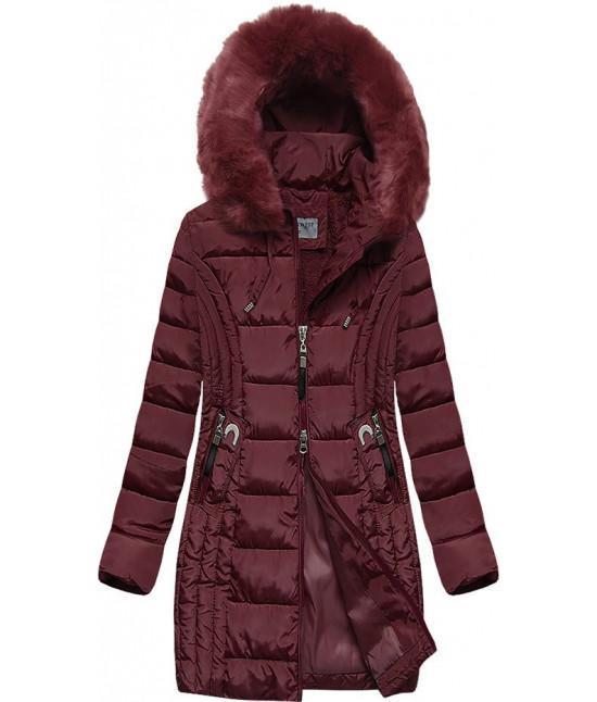 Prešívaná dámska zimná bunda MODA2620BIG bordová