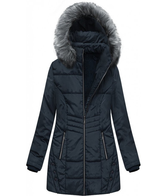 Dámska zimná bunda s kapucňou MODA625 tmavomodrá 4XL