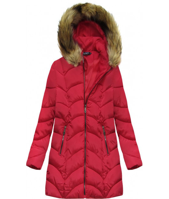 Dámska zimná bunda MODA1801BIG červená 4XL