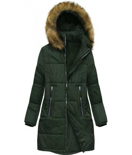 Dámska zimná bunda MODA627BIG tmavozelená 3XL
