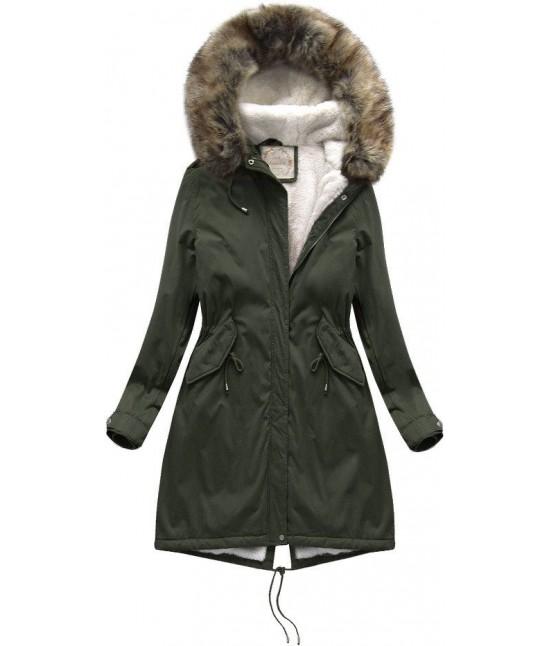 Dámska zimná bunda parka MODA992BIG khaki 7XL