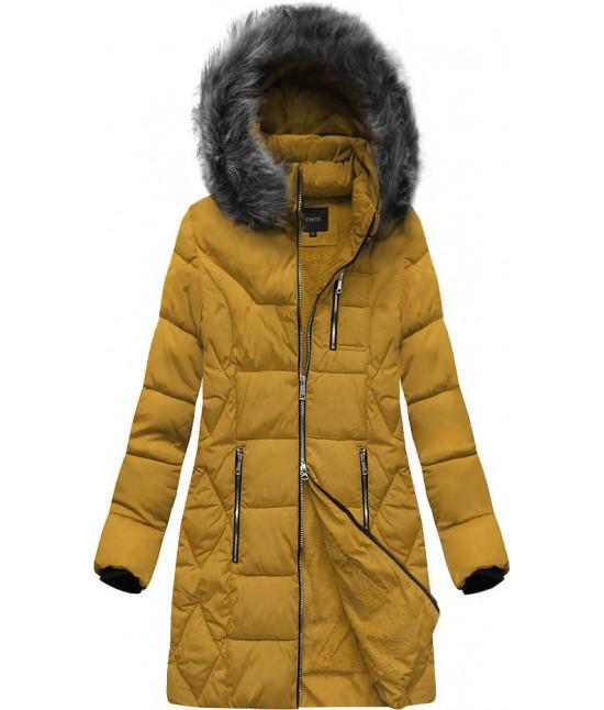 Dámska zimná bunda MODA902 žltá veľkosť 6XL