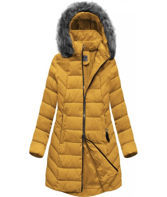 Dámska zimná bunda MODA646BIG žltá veľkosť 6XL