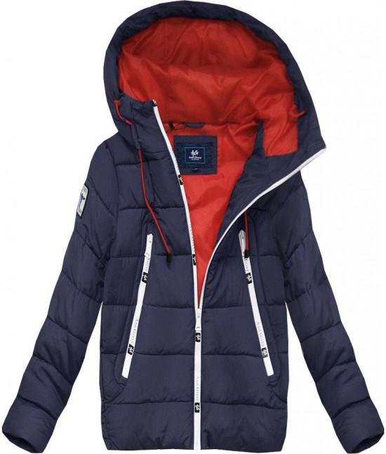Krátka dámska zimná bunda s kapucňou MODA526 tmavomodrá