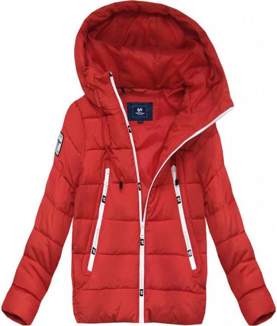 Krátka dámska zimná bunda s kapucňou MODA526 červená