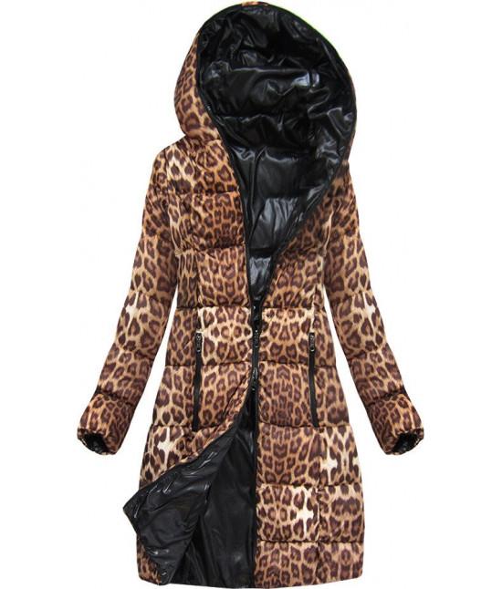 Obojstranná dámska zimná bunda MODA9009 hnedo-čierna