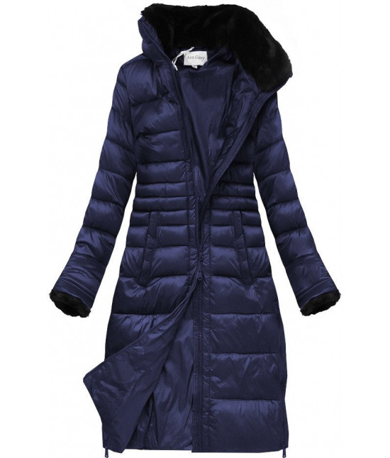Prešívaná dámska zimná bunda MODA017 tmavomodrá