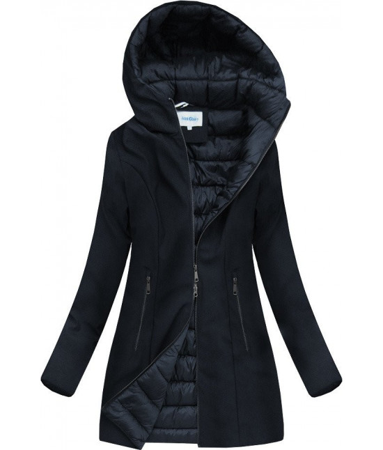 Dámska zimná bunda s kapucňou MODA18-006 tmavomodrá