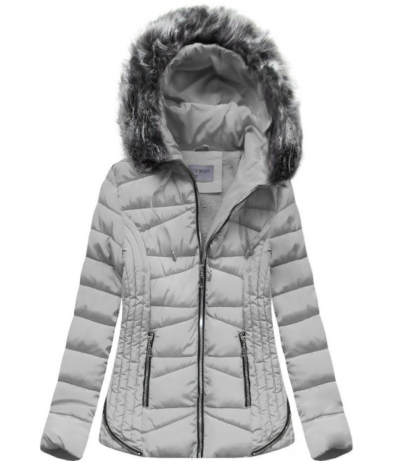 Prešívaná dámska zimná bunda s kapucňou MODA2631 šedá S