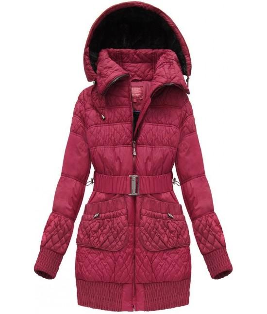 Teplá dlhšia dámska zimná bunda MODA311 bordová veľkosť M