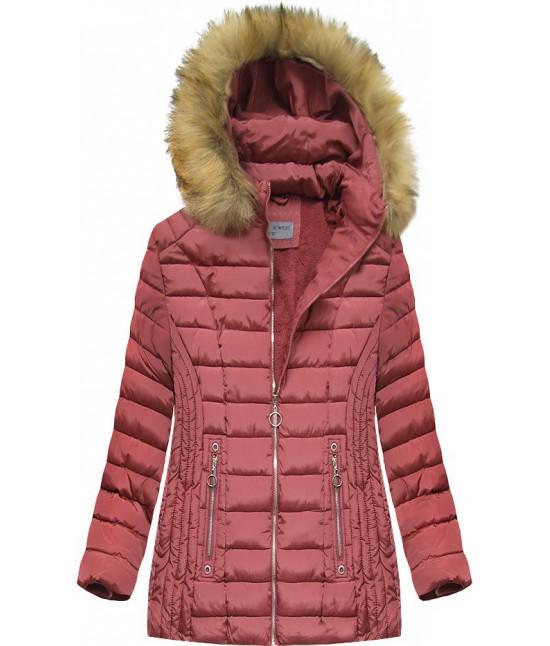 Dámska zimná bunda MODA2630 ružová veľkosť 5XL