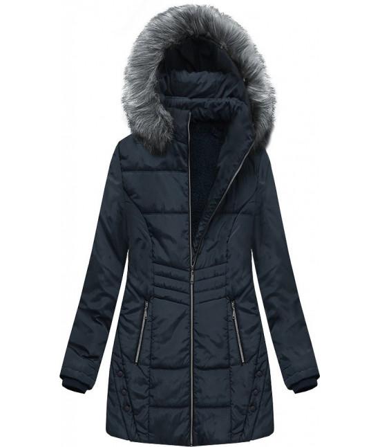 Dámska zimná bunda s kapucňou MODA625 tmavomodrá 3XL