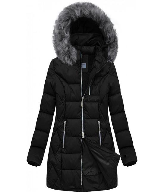 Dámska prešívaná zimná bunda MODA644 čierna veľkosť L