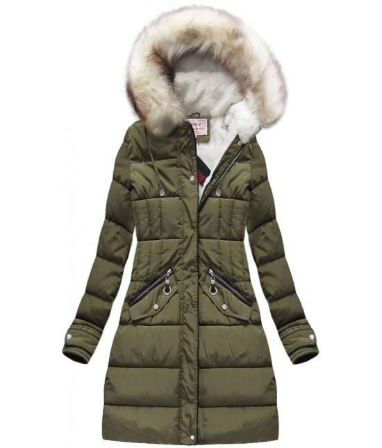 Dámska zimná bunda MODA734 khaki veľkosť M