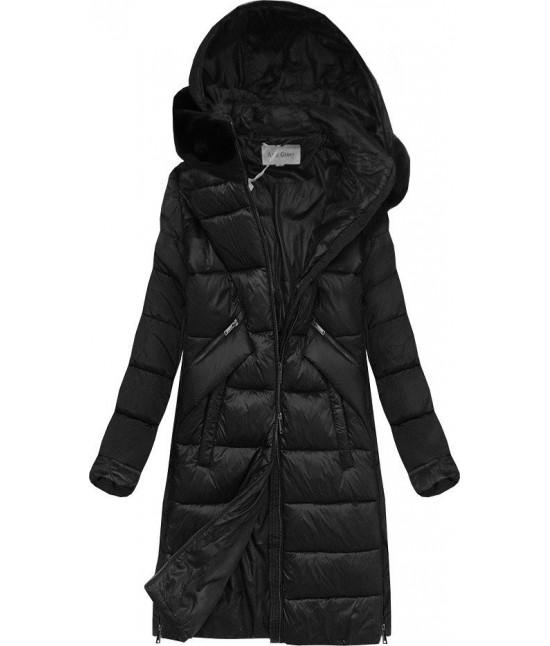Dámska zimná bunda z kombinovaných materiálov MODA011 čierna