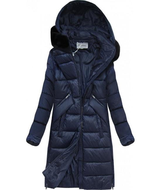Dámska zimná bunda z kombinovaných materiálov MODA011 tmavomodrá
