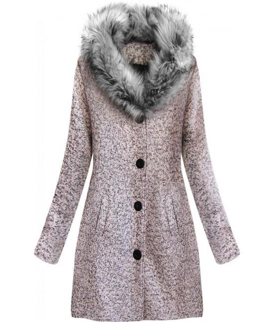 Dámsky zimný kabát z golierom MODA536 ružový