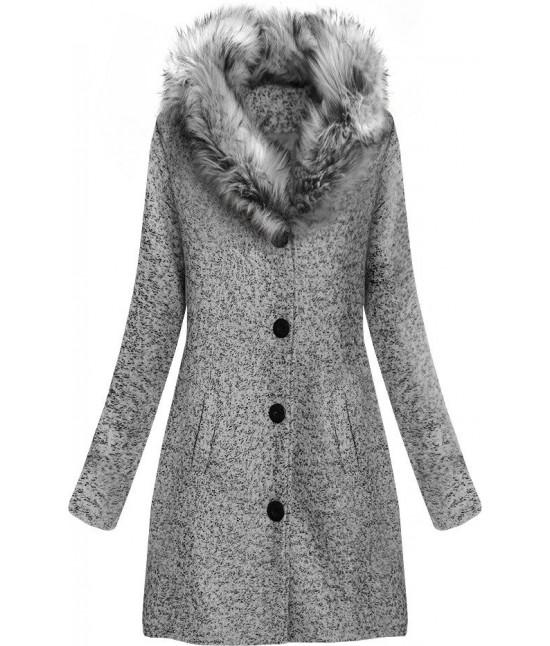 Dámsky zimný kabát z golierom MODA536 svetlošedý