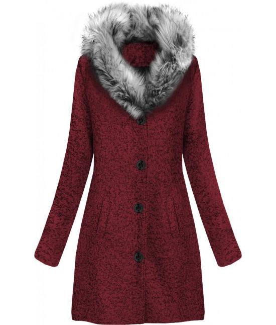 Dámsky zimný kabát z golierom MODA536 bordový