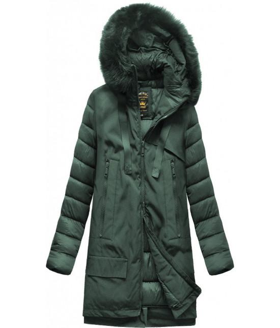 Dámska zimná bunda z kombinovaných materiálov MODA708 tmavozelená veľkosť XL