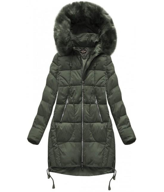 Prešívaná dámska zimná bunda MODA709BIG khaki veľkosť 6XL
