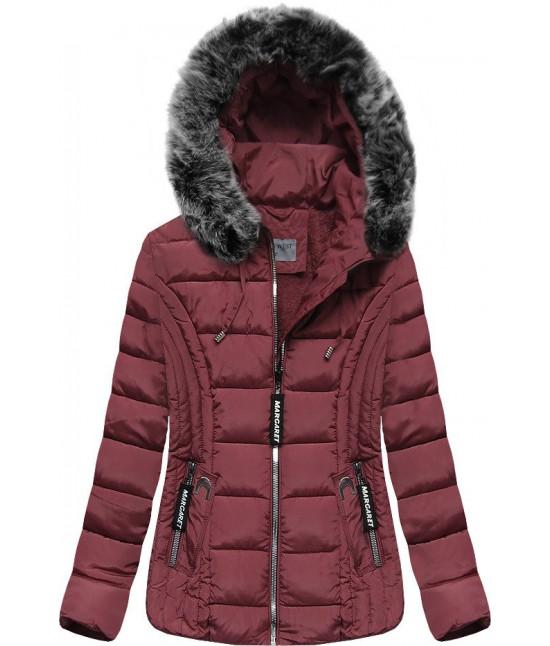 Dámska krátka zimná bunda MODA618 bordova veľkosť XL