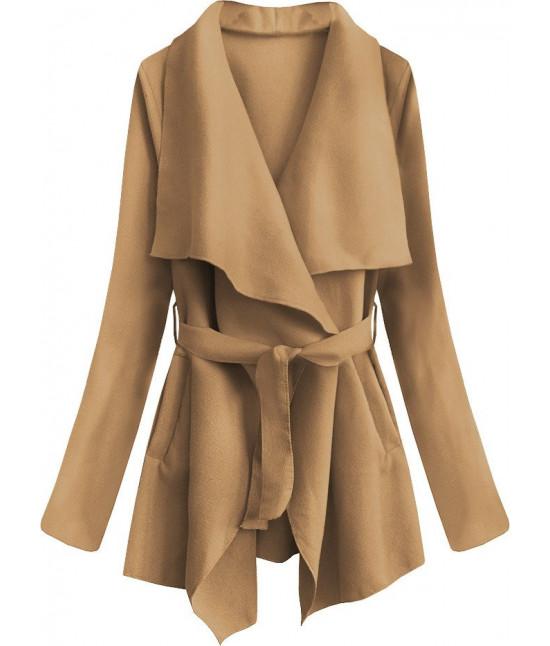 Dámsky jarný plášť MODA553 karamelový