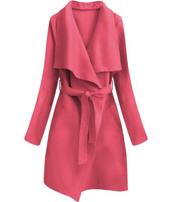 Dámsky prechodný jednoduchý kabát MODA552 ružový