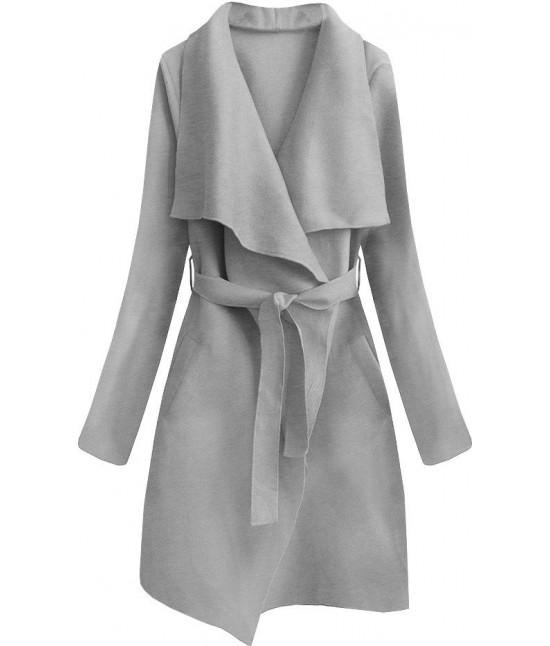 Dámsky prechodný jednoduchý kabát MODA552 šedý