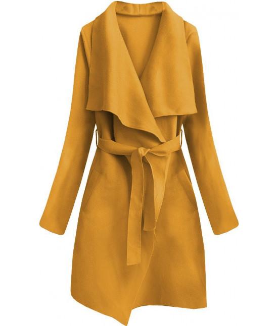 Dámsky prechodný jednoduchý kabát MODA552 horčicový