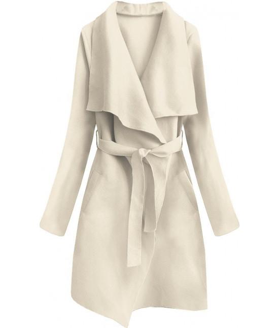 Dámsky prechodný jednoduchý kabát MODA552 krémový