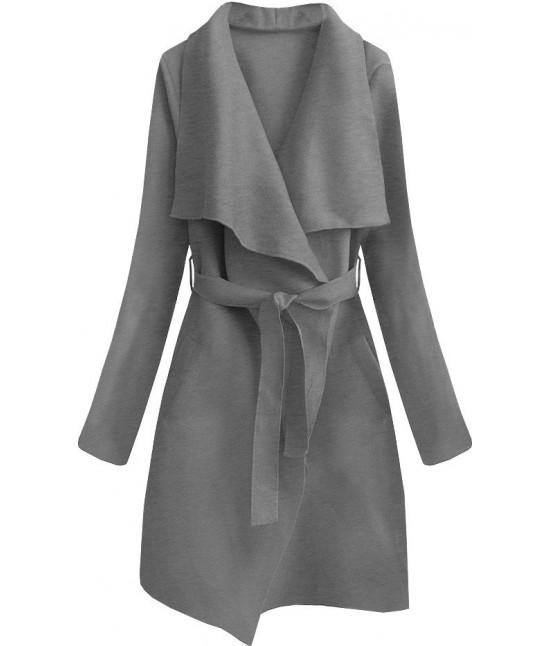 Dámsky prechodný jednoduchý kabát MODA552 tmavošedý